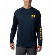 Columbia University of Michigan Navy PFG Terminal Tackle Long Sleeve Performance Tee