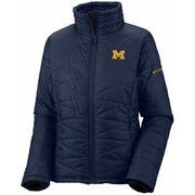 Columbia University of Michigan Ladies Navy Powder Puff Insulated Jacket