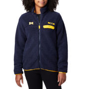 Columbia University of Michigan Women's Navy Mountain Side Heavyweight Sherpa Fleece Full-Zip Jacket