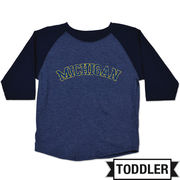 College Kids University of Michigan Toddler Navy Home Run Raglan Tee