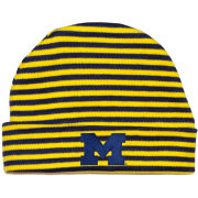 Creative Knitwear University of Michigan Newborn Infant Navy/Yellow Striped Cuffed Knit Hat