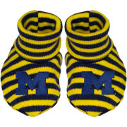 Creative Knitwear University of Michigan Navy/Yellow Striped Baby Booties