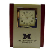 LXG University of Michigan Metal with Cherry Wood Desk Clock
