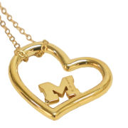 Dayna Designs University of Michigan Gold Plated Sterling Silver Heart Pendant Necklace