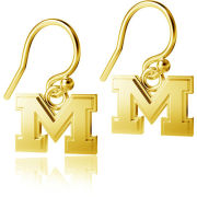 Dayna Designs University of Michigan Gold Plated Sterling Silver Block ''M'' Dangle Earrings