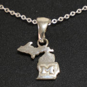 Dayna Designs University of Michigan Sterling Silver State of Michigan Necklace