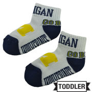 Donegal Bay University of Michigan Toddler White ''Go Blue'' Socks