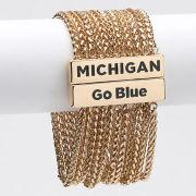Emerson Street University of Michigan ''Jollie'' Gold Multi-Strand Bracelet