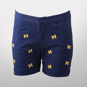 Emerson Street University of Michigan Ladies Navy All-Over Block M Shorts
