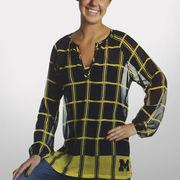 Emerson Street University of Michigan Ladies Plaid Sheer Tunic