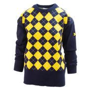 Emerson Street University of Michigan Women's Navy/ Yellow Argyle Sweater