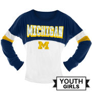 5th & Ocean University of Michigan Youth Girls Long Sleeve Sequin Jersey Tee