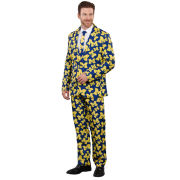 Valiant University of Michigan All Over Block ''M'' Logo Two Piece Ugly Business Suit and Necktie