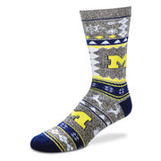 FBF University of Michigan Marble Gray Festive Holiday Socks