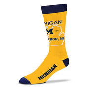FBF University of Michigan Yellow State Outline Socks