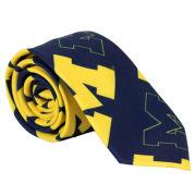 Valiant University of Michigan All-Over Block ''M'' Logo Skinny Tie