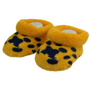For Bare Feet University of Michigan Infant Yellow with Navy Polka Dot Bootie Socks [2 Pair]