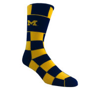 FBF University of Michigan Jumbo Check Crew Socks