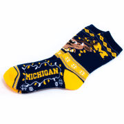 FBF University of Michigan Reindeer Lights Crew Socks