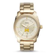 Fossil University of Michigan Machine Three-Hand Date Gold-Tone Stainless Steel Watch