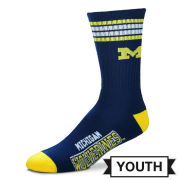 FBF University of Michigan Youth Navy 4-Stripe Deuce Crew Socks