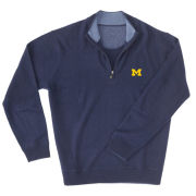 Full Turn University of Michigan Navy Cashmere 1/2 Zip Sweater