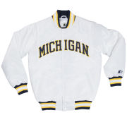 G-III Sports University of Michigan White ''MICHIGAN'' Throwback Starter Jacket