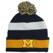 The Game University of Michigan Striped Cuffed Knit Pom Hat