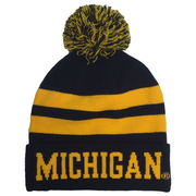 The Game University of Michigan Navy and Yellow Striped Cuffed Knit Pom Hat