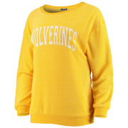 Game Day Couture University of Michigan Women's Heather Yellow ''It's A Date'' Crewneck Sweatshirt