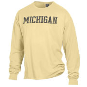 Comfort Wash University of Michigan Butter Yellow Long Sleeve Tee
