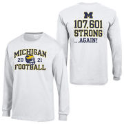 Gear University of Michigan Football White ''Strong Again'' Front/Back Print Long Sleeve Tee