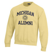 Gear University of Michigan Alumni Butter Yellow Crewneck Sweatshirt