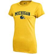 Gear University of Michigan Football Ladies Yellow Skinny Tee
