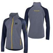 Gear University of Michigan Ladies Navy/ Heather Navy Innovative Full Zip Jacket