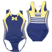 GK University of Michigan Gymnastics Women's Navy 2021 National Champions Helmet Design Sublimated Leotard