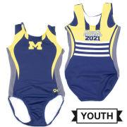 GK University of Michigan Gymnastics Youth Navy 2021 National Champions Helmet Design Sublimated Leotard