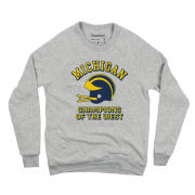 Homefield Apparel University of Michigan Football Gray ''Champions of the West'' Helmet Crewneck Sweatshirt