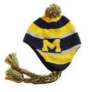 Honour Society University of Michigan Varsity Striped Knit Tassel Hat