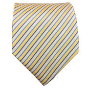 Jardine University of Michigan Navy, Yellow White and Blue Thin Striped Tie
