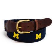 Jardine University of Michigan Scatter Block ''M'' Ribbon Canvas Belt