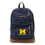 JanSport University of Michigan Navy/ Leather ''Right Pack'' Backpack