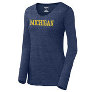 JanSport University of Michigan Ladies Navy Long Sleeve Triblend Betty Tee