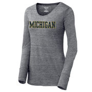 JanSport University of Michigan Women's Heather Gray ''Betty'' Triblend Long Sleeve Tee