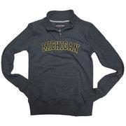 JanSport University of Michigan Ladies Heather Navy Terry 1/4 Zip Sweatshirt