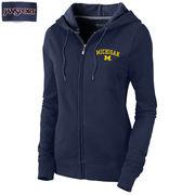 JanSport University of Michigan Ladies Navy MIla Full Zip Hooded Sweatshirt