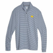 Johnnie-O University of Michigan Turn Light Heather Blue Striped Prep-Formance 1/4 Zip Pullover