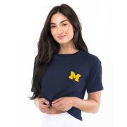 Kadyluxe University of Michigan Women's Navy Milky Silk Pocket Crop Top