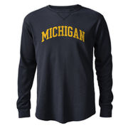 League Outfitters University of Michigan Navy Long Sleeve Waffle Tee