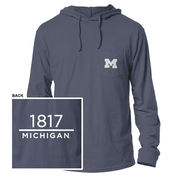 League Outfitters University of Michigan Spring Navy Long Sleeve Hooded Tee